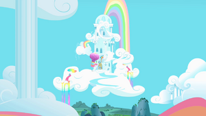 Pinkie Pie outside Dash's home S1E25