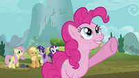 Pinkie points up towards the sky S2E02