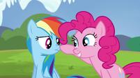 Pinkie touches Rainbow's nose S4E21