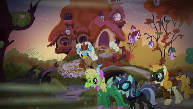 File:Ponies in costumes outside Fluttershy's cottage S5E21.png