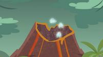 Rarity's gems flying into the volcano EGDS1