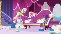 Rarity sulking on her couch with ice cream S7E19