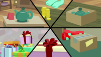 Split-screen of stuff being bought and gift-wrapped MLPBGE