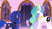 Starlight joins Celestia and Luna on the balcony S7E10