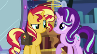 Sunset Shimmer intrigued by Starlight's idea EGS3
