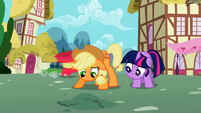 Twilight and Applejack wait for seeds to sprout S02E06