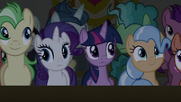 Twilight and Rarity notice the lights go out S8E16