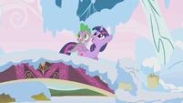 Twilight and Spike on a bridge S1E11