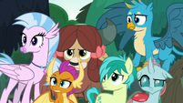 Young Six look annoyed at Rainbow Dash S8E9