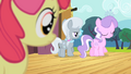 Apple Bloom sees Diamond Tiara and Silver Spoon walking away S4E05.png