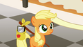 Aunt Orange touching filly Applejack's mane S1E23.png