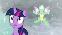 Changeling crashes into magic bubble S9E25