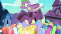 Crystal Ponies tossing Spike into the air S6E16.png