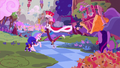 Discord with the princesses in clown costumes S5E26.png