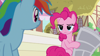 Pinkie Pie looks unamused at Rainbow Dash S7E18