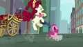 Pinkie slides back at Manehattan; Cherry Jubilee shocked S5E11.png