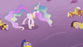 Princess Celestia looking at her fallen soldiers S5E25.png