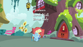 Rainbow Dash bounces to the library S4E04.png
