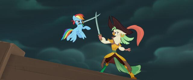 File:Rainbow Dash sword-fighting Captain Celaeno MLPTM.jpg