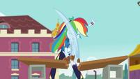 Rainbow karate-chops the wood in half CYOE4b