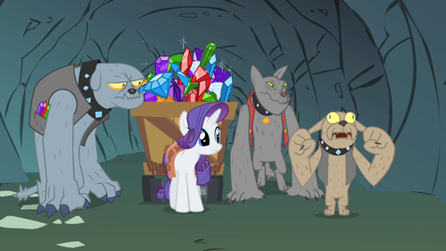 Rarity driving the dogs crazy S1E19