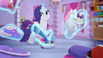 Rarity is going on a trip and takes Opalescence Rainbow Roadtrip