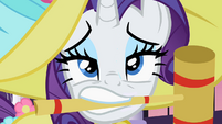 Rarity with croquet mallet in mouth S2E09