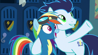 Soarin getting Rainbow Dash excited S8E5