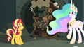 Sunset and Celestia watch the catalog fall apart EGFF.png