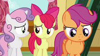 Apple Bloom and Sweetie look at each other; Scootaloo thinks S6E19
