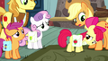 Applejack puts saddlebags on Apple Bloom S5E6.png