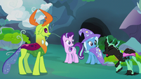 Changeling appears covered in black paint S7E17