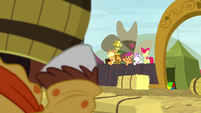 Cutie Mark Crusaders wave at Trouble Shoes S5E6