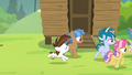 Cutie Mark Day Campers gallop after Rumble S7E21.png