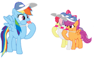 FANMADE Rainbow Dash and the CMC blowing whistles
