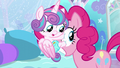 Flurry Heart latched onto Pinkie's eyeball S6E1.png