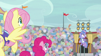 Fluttershy, Pinkie, and Wind see ball go flying S9E6