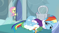 Fluttershy in Rainbow's bedroom door S5E5.png