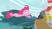 Pinkie Pie being flown off S4E09