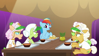Rainbow Dash eating lunch with grannies S8E5