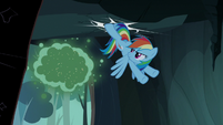 Rainbow Dash kicking the cave entrance S7E16