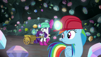 Rarity collecting gems in her cart S8E17