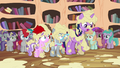 Twilight, Tiara, and Silver covered in applesauce S4E15.png