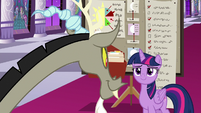 Twilight Sparkle smiling at Discord S9E17