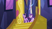 Twilight looks at Starlight at the castle entrance S5E26