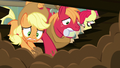 Applejack and Big Mac dig madly in the dirt S7E13.png
