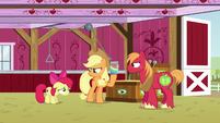 Applejack looking bitter toward Apple Bloom S6E23