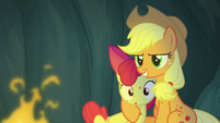 Applejack puts a hoof around Apple Bloom S7E16