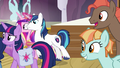 Background ponies look at Twilight and her family S7E22.png