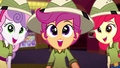 Cutie Mark Crusaders happy to find Gummy SS11.png